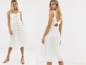 Oasis Broderie Anglaise White Button Through Open Back Midi Summer Dress size 8