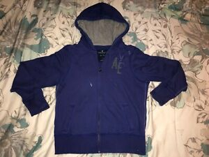 AE AMERICAN EAGLE OUTFITTERS Purple Zip-Up Fleece Sweatshirt with Pockets SIZE L