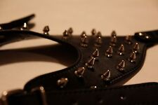 Spiked black leather dog harness