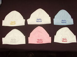 Baby 100% Cotton Embroidered Personalised Hat With The Saying Hello World