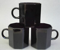 Arcoroc Small Mug Lot of 4 Tea Cups Only Octime Shanghai Black Glass 6oz France