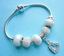 Set  Mother of pearl Beads, Silver plated charms and European Bracelet  s100
