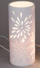 658739 Lampe Aurea Blume Zylinder rund 11 x 24cm Weiss NEU