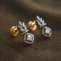 2ct d vvs1 round shape diamond stud earrings push back fine 14k yellow gold over