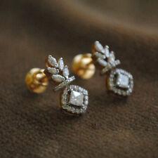 2TCW VVS1 Round Shape Diamond Stud Earring 14k Yellow Gold Over Push Back