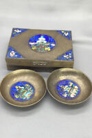 Vintage / Antique Chinese Cloisonne Enamel Brass Hinged Box with 2 Small Bowls