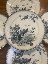 6 Assiette Faïence Vaisselle Oiseaux Ancien Service Sarreguemines Printemps