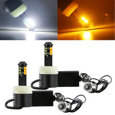 2x 1156 PY21W BAU15S 12SMD NO Error LED Canbus Turn Light Dual Color White+Amber