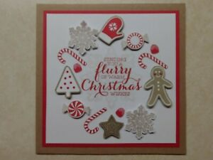 Stampin Up CHRISTMAS CARD KIT, CANDY CANE LANE DSP-Gingerbread Men, Candy Wreath