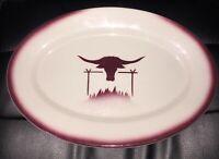 1950s McNicol China Oval Serving Platter Western Longhorn Steer Shadowtone Rim