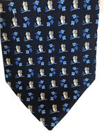 Church's 100% silk tie, made in Italy Navy with silver owl's & blue branch 9.5cm
