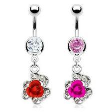 METAL FLOWER PAVED GEMS BELLY NAVEL RING CZ DANGLE BUTTON PIERCING JEWELRY B94