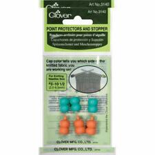 Clover Point Protector Stopper Knitting Needle Size #0-10-1/2 Aqua Pink 6pc