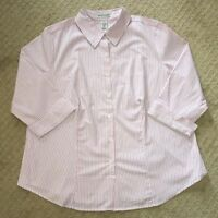 NWOT Women's Jessica London Pink Striped 3/4 Sleeve Button Front Top-size 18/20