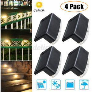 4 Solar LED Bright Deck Lights Outdoor Garden Patio Railing DecksLighting  Path