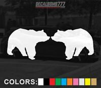 Set of 2 Bear Walking Decals Stickers Turbo Truck Hunt Race rzr Kayak Diesel Car