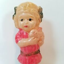 Girl Holding Bunny Antique Celluloid Toy Doll Easter Rabbit