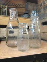 Vintage Quart Pint Half Milk Bottle Set Hunding Dairy Company Chicago Illinois