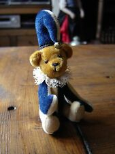 "Miniature Jester bear in velour. Navy blue and cream. 4"" tall with hat."