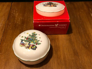 "Covered Bon Bon Dish 5"" Nikko Christmastime China Japan in Box"
