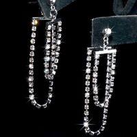 18k white gold made with SWAROVSKI crystal earrings tassel stud ear jacket