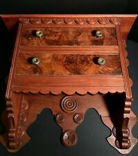 BEAUTIFUL FLAMED MAHOGANY 2-DRAWER FRONT FOLK HANGING SHELF,LATE 19TH C,EXCELENT