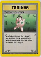 Pokemon Karte - Wiederverwertung 61/62 Fossil, 1. Edition, NM DE