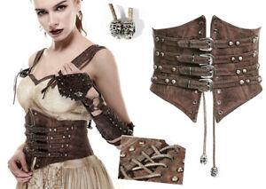 Studded leather corset belt gothic steampunk vintage straps skull PunkRave Cofee