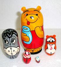 "Cute Russian Handpainted Nesting Doll ~ Winnie The Pooh ~ 5pc ~ 4"""