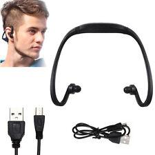 Sport casque sans fil casque écouteur SD TF Micro MP3 Music Player noir