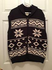 NWT Field & Stream Men's Full Zip Cowl Neck Snowflake Winter Sweater Vest 2XL