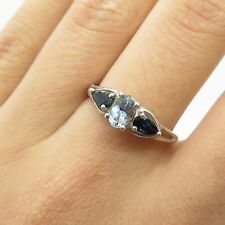 Vtg 925 Sterling Silver Real Sapphire Topaz Gemstone Ring Size 7