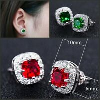 Emerald Green/Red/Silver/Blue Stud Earrings, Surgical Sterling Birthstone