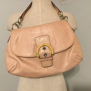 Coach Genuine Leather Soho Flap Hobo Purse Handbag F17217 Blush Stained