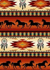 Terracotta Blanket Stripe, Horses, Tucson Elizabeths REMNANT, 1/3 Yard Cut