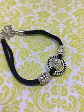 Wrist Band Black Suede Tibetan Silver Charm Bracelet Double Cord Toggle Bar