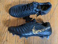 Nike Tiempo Legend 7 Elite FG ACC Soccer Cleats Black Gold Size 6