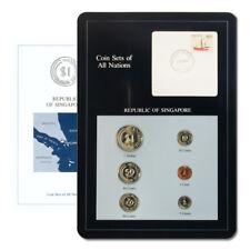Singapore Type Set & Postal Cache 6 Coins BU Descriptive Card