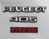 ⭐🇫🇷 NEUF KIT 3 MONOGRAMMES PEUGEOT 405 Mi16 PHASE 1 LOGOS BADGES NEW 48H