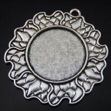 8 pieces Rose Charms Cameos Base Pendants Silver Tone Alloy Blank Bezel Frame