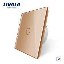 Livolo Light Switch 1Gang Remote With Gold Tempered Glass Plate Uk Standard