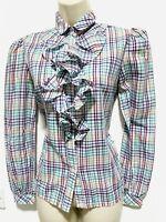 Green Purple Frill Ruffle Long Sleeve Shirt Blouse size 10