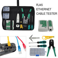 Ethernet Network Kit RJ45 RJ11 Cat5e LAN Cable Tester Cutter Crimping Punch Tool