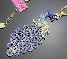 NEW Betsey Johnson unique gem crystal sea huge peacock pendant necklace!US
