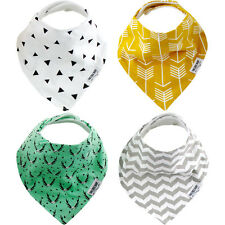 ORGANIC Cotton Baby BANDANA Drool BIBS for Boys or Girls 4 Pack