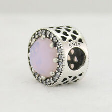Authentic Pandora Charm Radiant Hearts Opalescent Pink Crystal & Clear CZ New