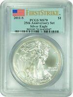 2011 PCGS MS70 Silver Eagle 25th Anni FIRST STRIKE Bald Eagle label