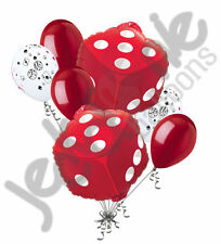 7 pc Las Vegas Red Dice Balloon Bouquet Party Decoration Birthday Craps Gamble