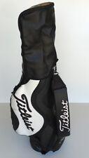 1980's Great Looking TITLEIST Staff Cart Leather Bag Black White w/Rain Hood