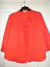 Ladies 2X Orange Blouse JG Hook Butto Front w/ matching tank 3/4 sleeve Stretch